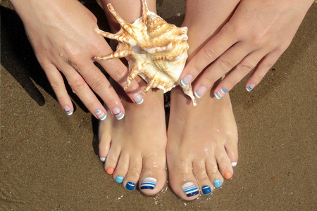 Sailors design .Nail art. Marine French manicure and pedicure.