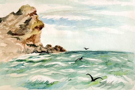 The drawing of a sea landscape. Flying seagulls over the sea surface.