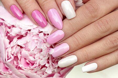 Hellrosa, pastellfarbene Maniküre auf verschiedenen Nagelformen mit Pfingstrosennahaufnahme.