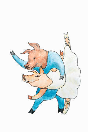 Image drawing of dancing piglets together in a ballet on a white background isolated.