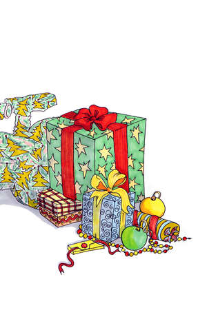 Drawing of multi-colored Christmas gifts and surprises with Christmas balls on a white background in isolation. Zdjęcie Seryjne