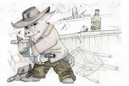 Image drawing of a cowboy pig in a bar.