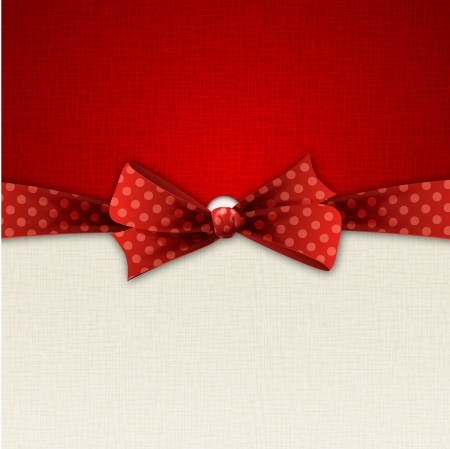 red holiday background with polka dot bow Vector
