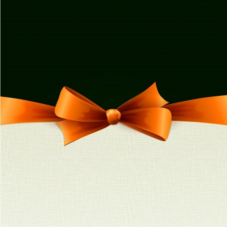 Orange bow in textile background Stock Vector - 18607901