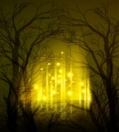 misty forest: Abstract background Illustration