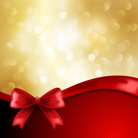 navidad elegante: Fondo de vacaciones de oro con el arco rojo
