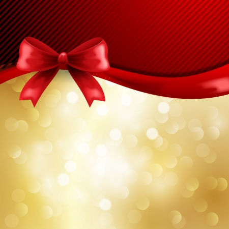 Gold holiday background with red bow Stock Vector - 18608049