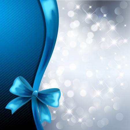silver circle: Sfondo Natale con fiocco blu Vettoriali