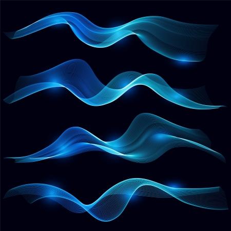 fumo blu: Set di onda fumo blu sullo sfondo scuro