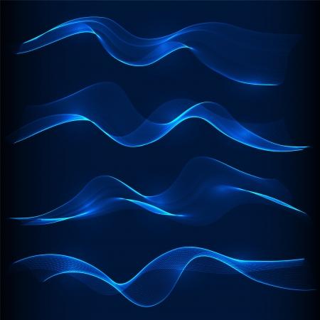 fumo blu: Set di onda blu fumo sullo sfondo scuro Vettoriali