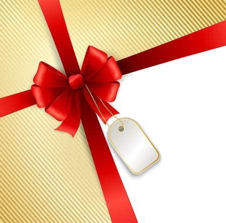 christmas gift tag: Vector elegant red ribbon and bow isolated on white