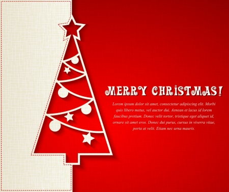 Vector illustration Christmas tree paper background. Illustration