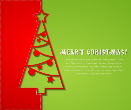 winter card: Vector illustration Christmas tree paper background.