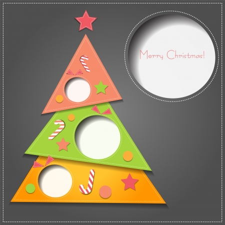 christmas pink: Vector illustration Christmas tree