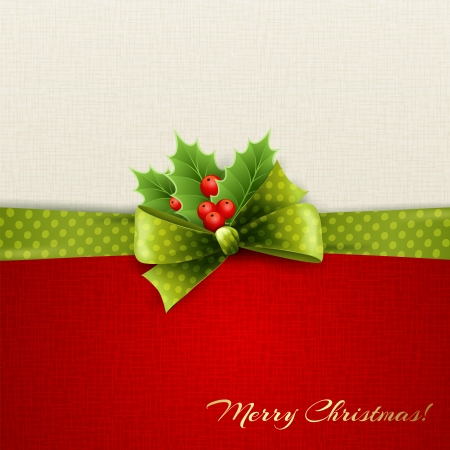 elegant christmas: Christmas decoration with holly leaves, bow Illustration