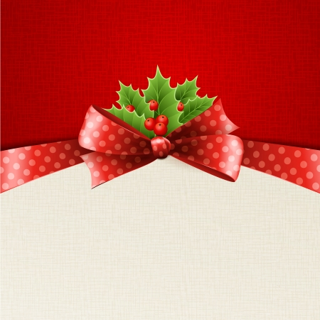 traditional events: Christmas decoration with holly leaves, bow Illustration