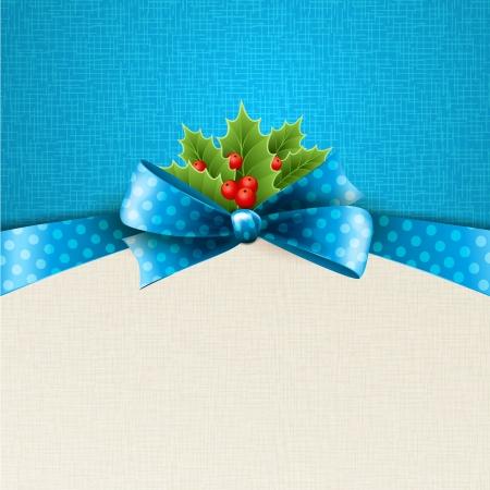 Vecteur de fond de Noël avec ruban, arc et de houx Banque d'images - 23010119