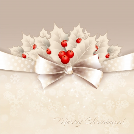 Vector christmas background with ribbon, bow and holly