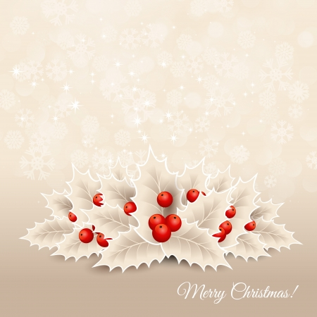 Vector christmas background with ribbon, bow and holly Stock Vector - 23010177