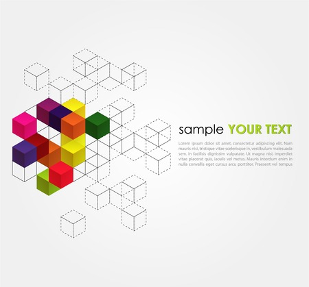 Vector abstract background with color cubes Ilustrace