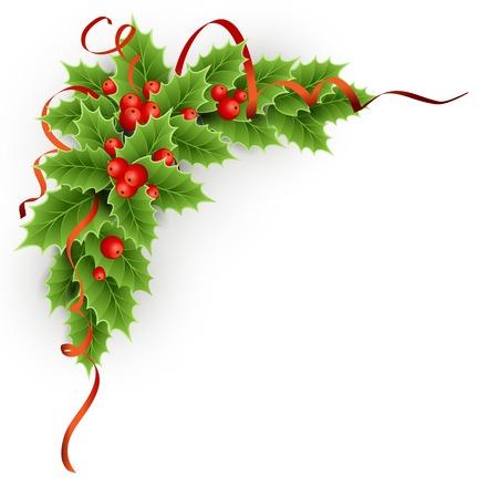 Vector Kerst hulst met bessen. EPS-10