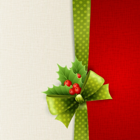 ベクトル クリスマス カード グリーン ポルカ ドット弓とホリーで