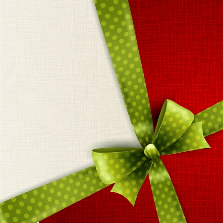 Vector Christmas card with green polka dots bow Vector