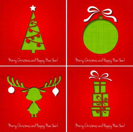 greeting card vector: Vector Merry Christmas Paper greeting card EPS 10