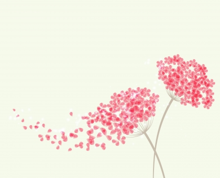 Vector Romantic background with flowers hydrangea Vector