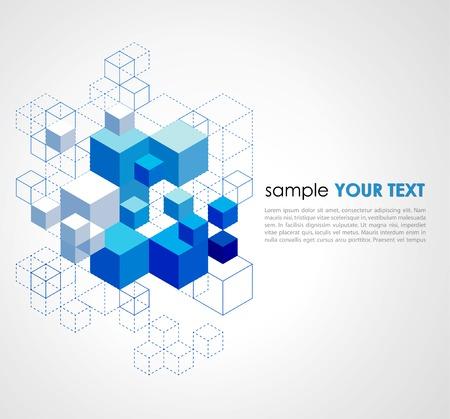 Abstracte blauwe blokjes vector achtergrond.