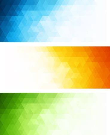 초록: 벡터 색 삼각형 추상적 인 기하학적 배너입니다. 일러스트