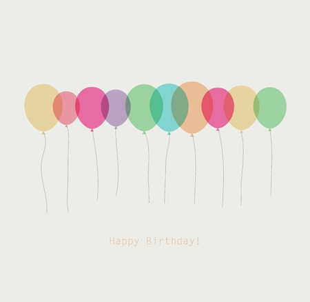 party balloons: Birthday card with colorful simply transparent  balloons Illustration