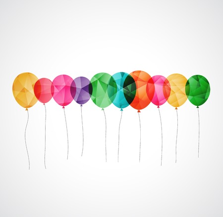 green balloons: Birthday card with colorful simply transparent  balloons Illustration