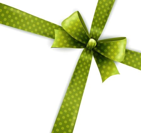 green bow: Vector  illustration isolated green polka dots bow