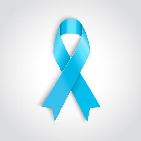 prostate cancer:  Vector Light blue ribbon as symbol of prostate cancer Illustration