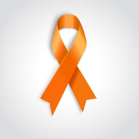 attribute: Vector Oranje lint als symbool van dierenmishandeling, leukemie voorlichting, nierkanker vereniging Stock Illustratie