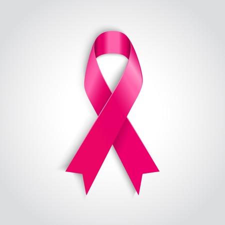 白い背景の上ベクトル乳房癌意識ピンク リボン  イラスト・ベクター素材