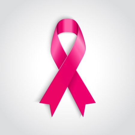 Vector Breast cancer awareness pink ribbon on white background
