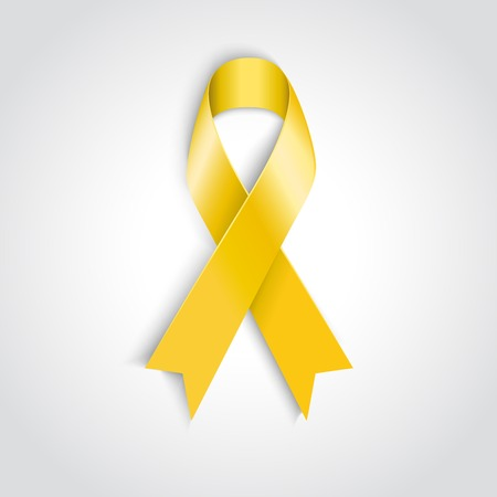 Vector Yellow awareness ribbon on white background  Bone cancer and troops support symbol Vector
