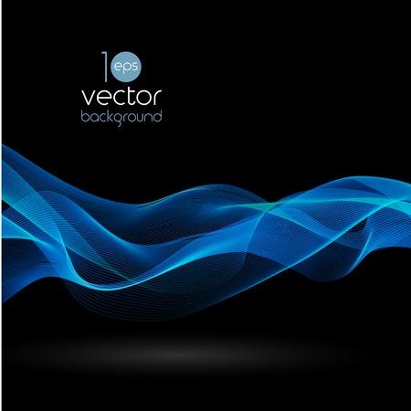 Shiny color smoke waves over dark vector backgrounds Illustration
