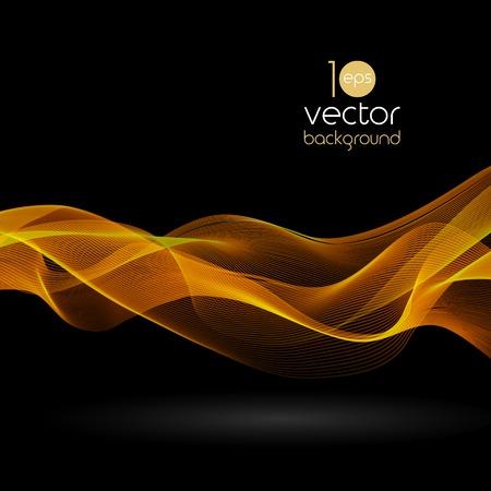 Shiny color smoke waves over dark background Vector