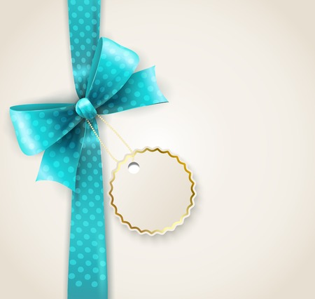 blue bow: illustration of isolated blue polka dots bow