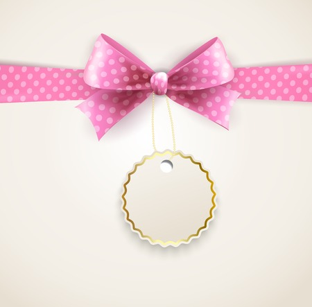 pink ribbons: illustration of isolated polka dots bow for greeting card