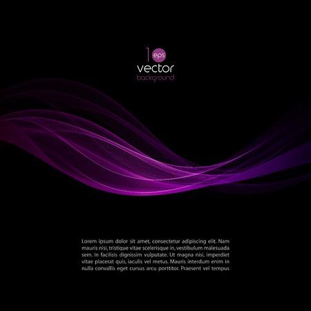 headliner: Shiny color smoke waves over dark vector backgrounds Illustration