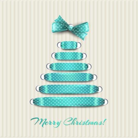 blue bow: Vector illustration Merry Christmas card tree decoration.