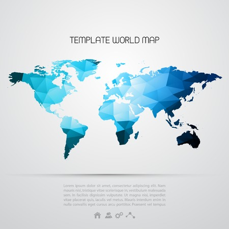 Abstracte achtergrond met vector kaart van de wereld.