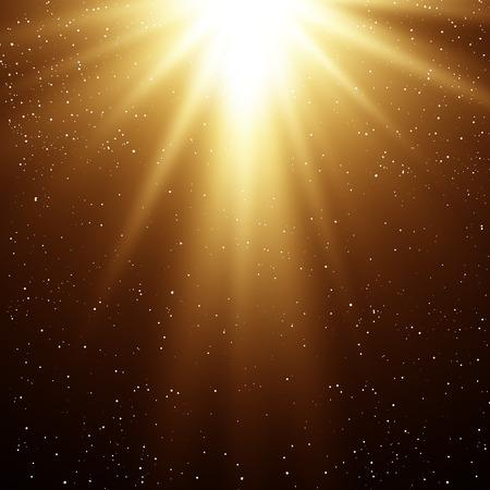 magia: Ilustraci�n vectorial Resumen de oro m�gica luz de fondo
