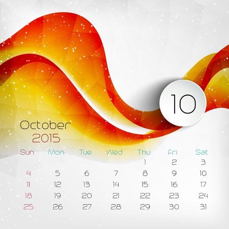 kalender oktober: 2015 Calendar. Oktober. Vector illustratie. EPS 10 Stock Illustratie