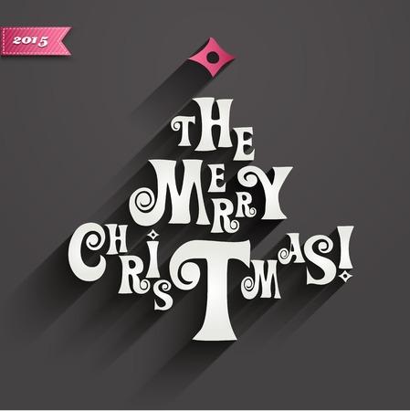 Vector illustration Merry Christmas card tree decoration. EPS10 Vector