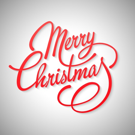 christmas red: Merry Christmas Lettering Design. Vector illustration. EPS 10 Illustration